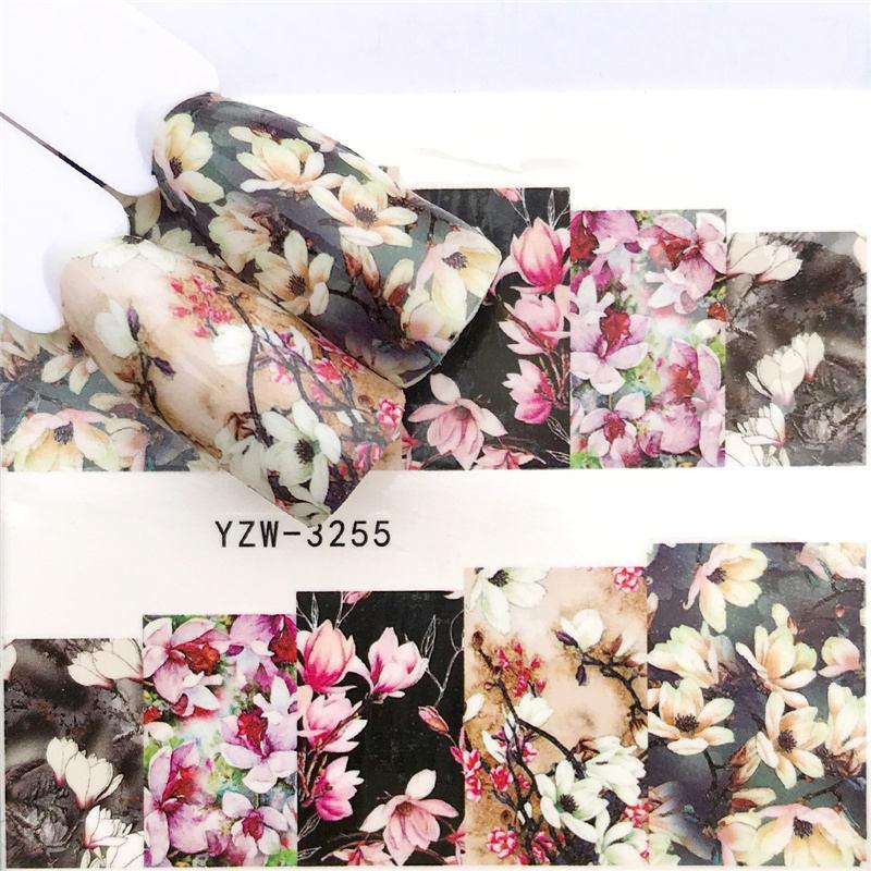 YWK 1 hoja 2020 leopardo/Rosa Negra/Flor pegatinas de agua para decoración de uñas pegatina Transfer manicura decoración de uñas