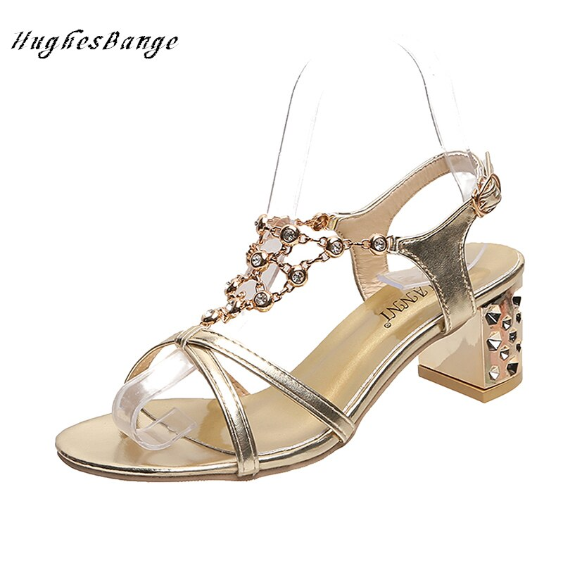 Zapatos mujer moda sandalias verano 2020 nuevo Diamante de imitación coreano salvaje dorado alto tacón hebilla recta moda romana cómodo