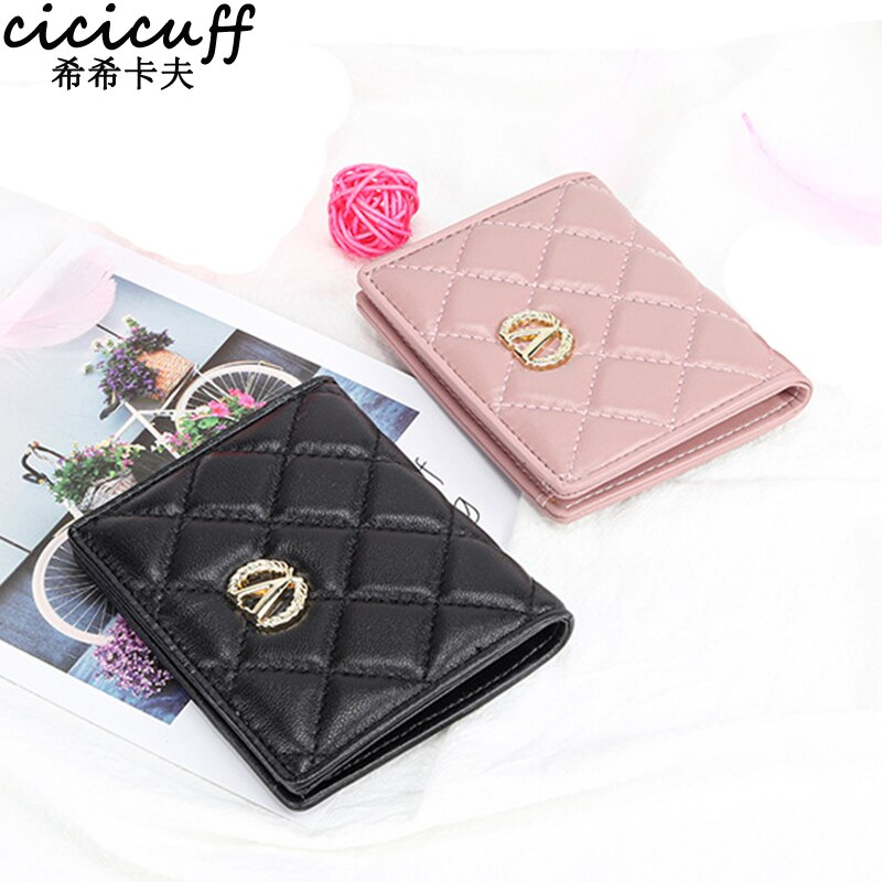 Fashion Women Wallet Leather Brand Diamond Lattice Designer Card Holder Purse Genuine Leather  Ladies Mini Billfold Short Purses