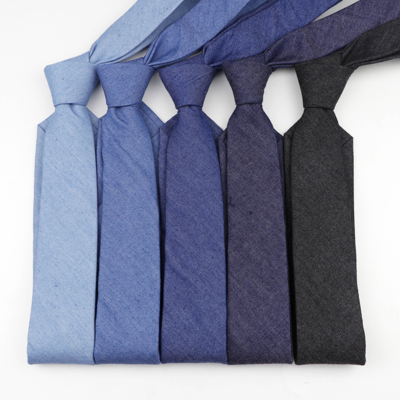 Corbatas de mezclilla de algodón de Color sólido corbata estrecha de 6cm de ancho