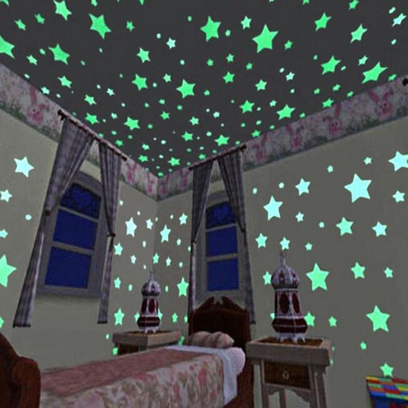 1 zestaw świecąca naklejka na ścianę naklejki na akcesoria do dziecięcej sypialni przedszkole świecące w ciemności 3D DIY gwiazdki księżyc naklejki Home Decoration