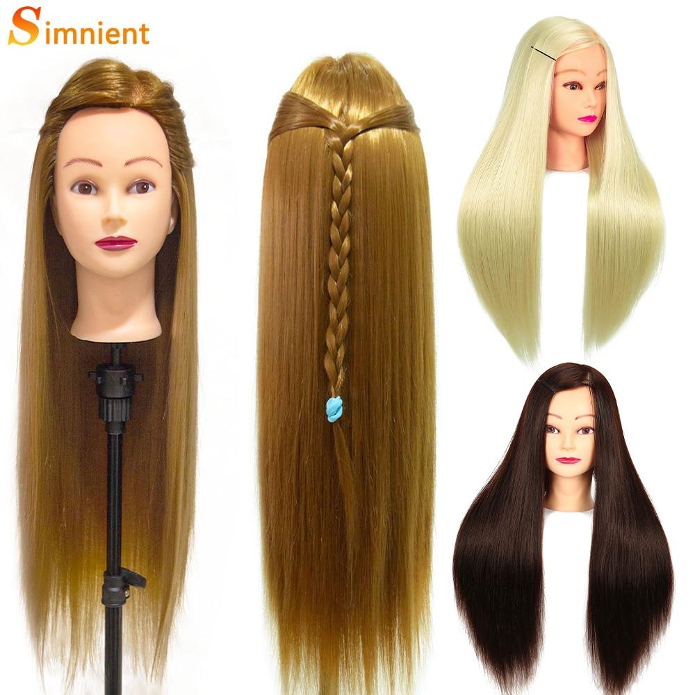 Simnient-رأس تدريب من الألياف الاصطناعية ، 26 بوصة ، لتصفيف الشعر ، وتصفيف الشعر ، ومانيكان احترافي