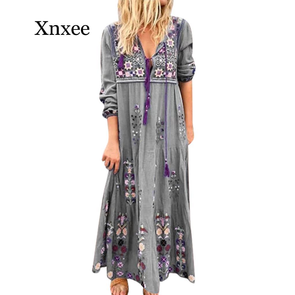 Femmes grande taille col en V imprimé à lacets à manches longues Boho robe de soirée Maxi robe longue femme plage boho robe florale longue