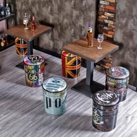 retro bar stool paint bucket american commercial storage low chair household industrial style storage round tin bucket
