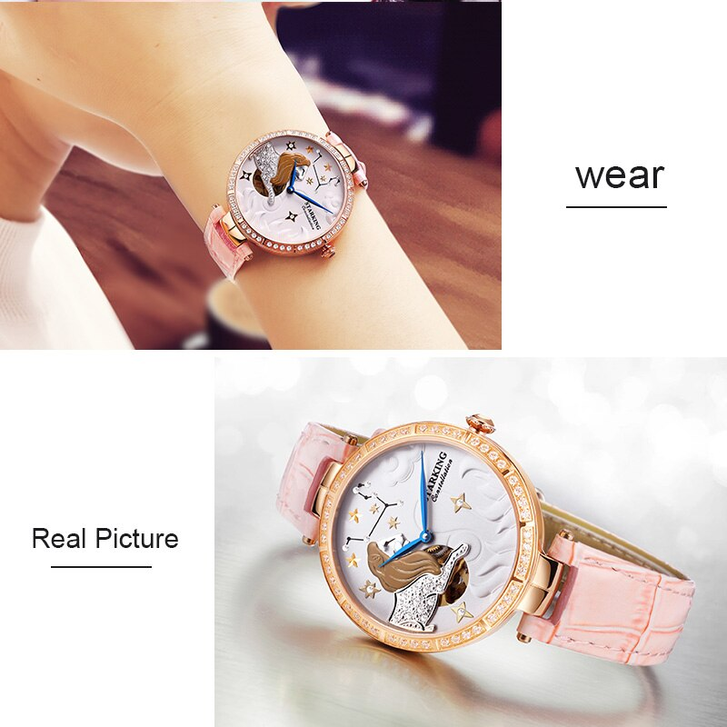 STARKING Women Watch Top Brand Luxury Leather Leo Constellation Lady Watch Fashion Casual Simple Wristwatch Clock Women Feminino enlarge