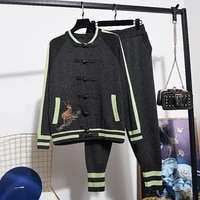 knitted tracksuit set women pink black embroidery cardigan sweater pencil pants suit 2pc vintage knit two piece outfits female