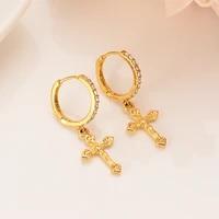 2021 fashion jewelry white zircon hoop earrings cross pendant for women gold color earrings dubai african arab jewelry gifts