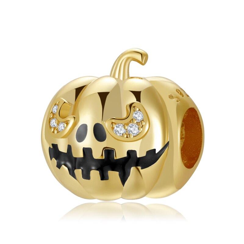 Оригинальные-шармы-бусины-с-фианитами-на-тему-Хэллоуина-Золотая-Тыква-искусственное-серебро-подходят-для-Оригинальных-Украшений