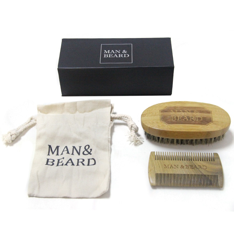 2PCS/Set Beard Brush Comb Mens Mustache Hair Care Grooming Kit Shears Scissors with Bag Styling Tools
