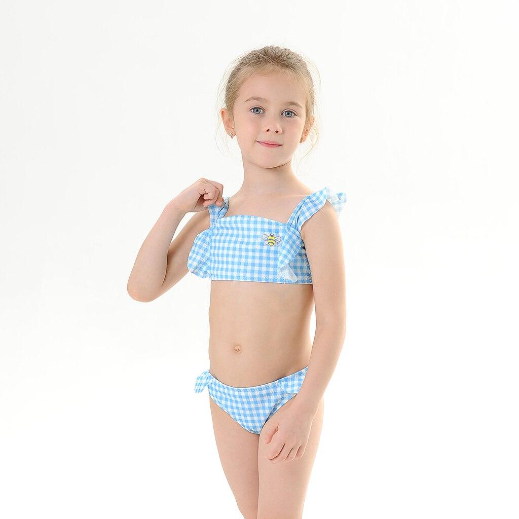 2020 New Baby Girl's Bikini Set Classic Blue Geometric Swimsuit Bee Embroidery Flounce Swimwear little Girl  Adjustable Bathsuit