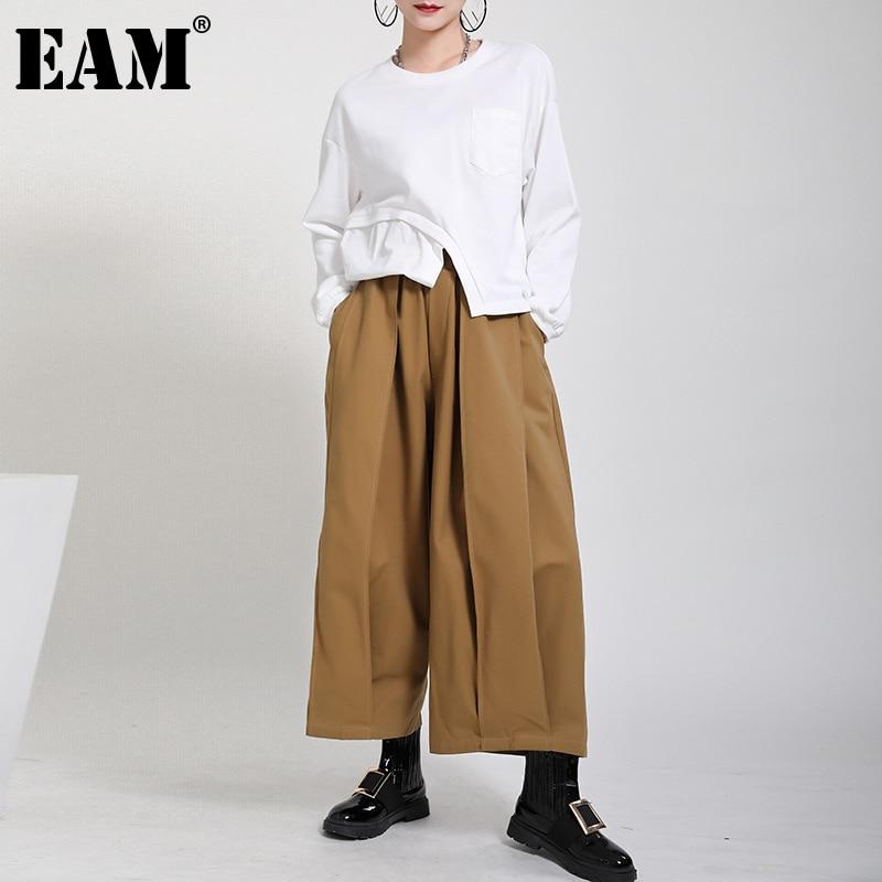 [EAM] بنطال عالي المرونة بخصر رايات طويل وأرجل واسعة جديد فضفاض مناسب للسراويل النسائية موضه لفصل الربيع والخريف 2021 1DD0404