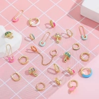 new fashion colorful enamel small hoop earrings for women trendy earcuff drip oil safety pin earrings double piercing huggies