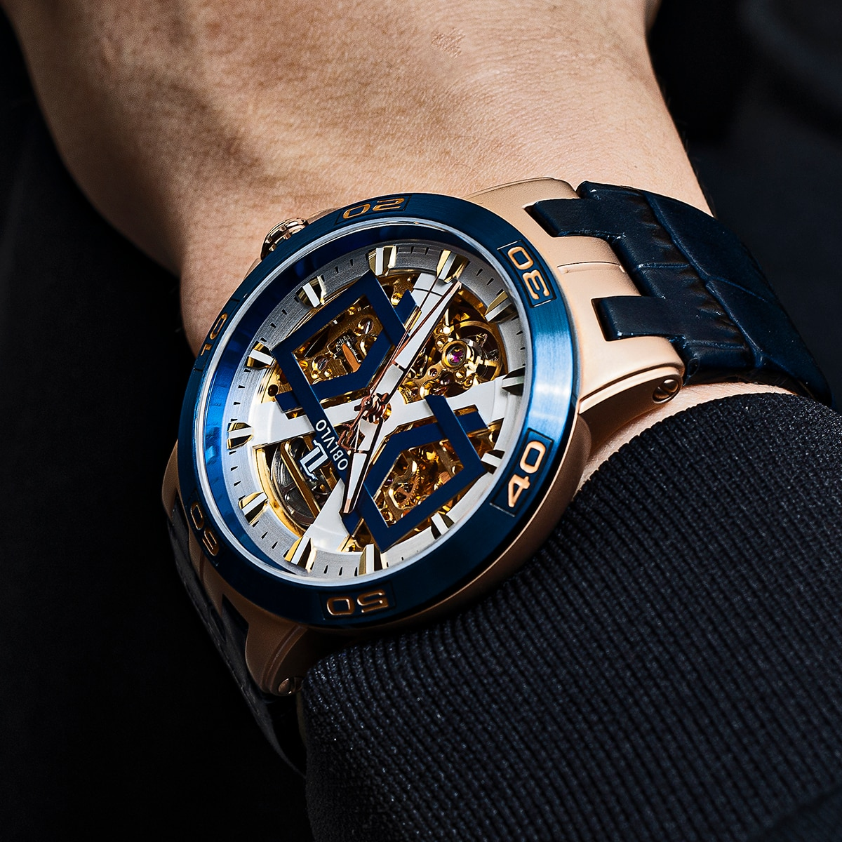 OBLVLO New Design Rose Gold Automatic Watches With Skeleton Dial Leather Strap Waterproof Big Watch UM