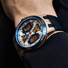 OBLVLO New Design Rose Gold Automatic Watches With Skeleton Dial Leather Strap Waterproof Big Watch