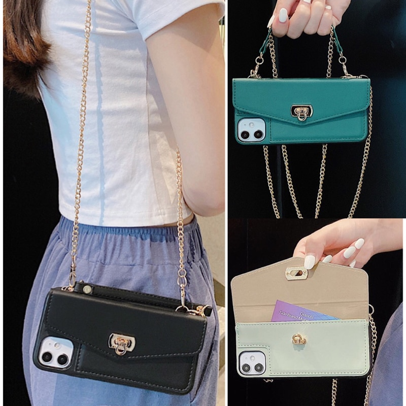 Lady Crossbody Leather Case For iPhone 12 Mini 11 Pro Max SE 2020 10 X 7 8 Plus X XR XS Max Handbag Wallet Purse Back Phone Case