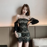 nightclub womens temperament tube top sexy dress office lady polyester lace sheath solid zippers knee length