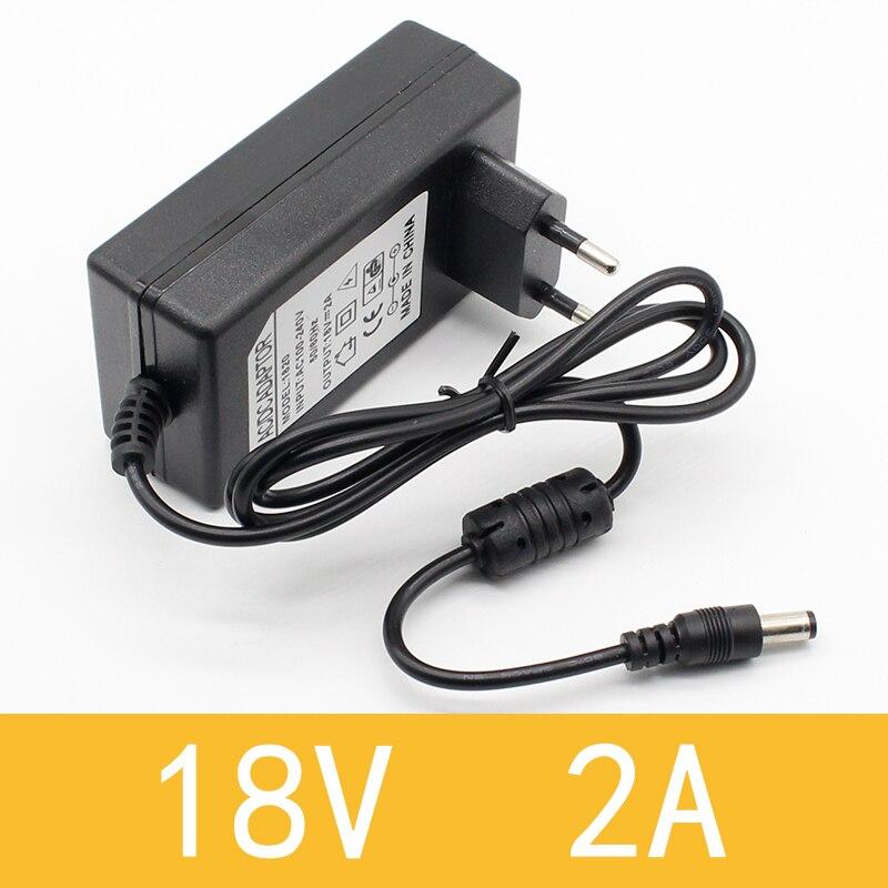 1 pièces 18V 2A AC 100V-240V convertisseur adaptateur DC 18V 2A 2000mA alimentation ue Plug 5.5mm x 2.1-2.5mm
