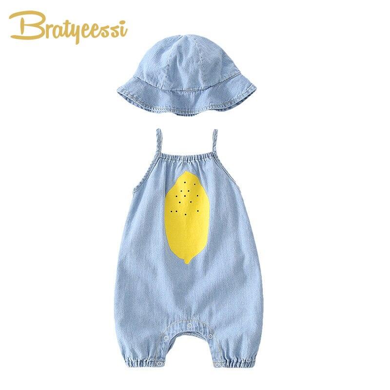 2020 verão bebê macacão com chapéu denim roupas de bebê algodão da criança macacão recém-nascidos meninos meninas roupas bonito crianças conjunto