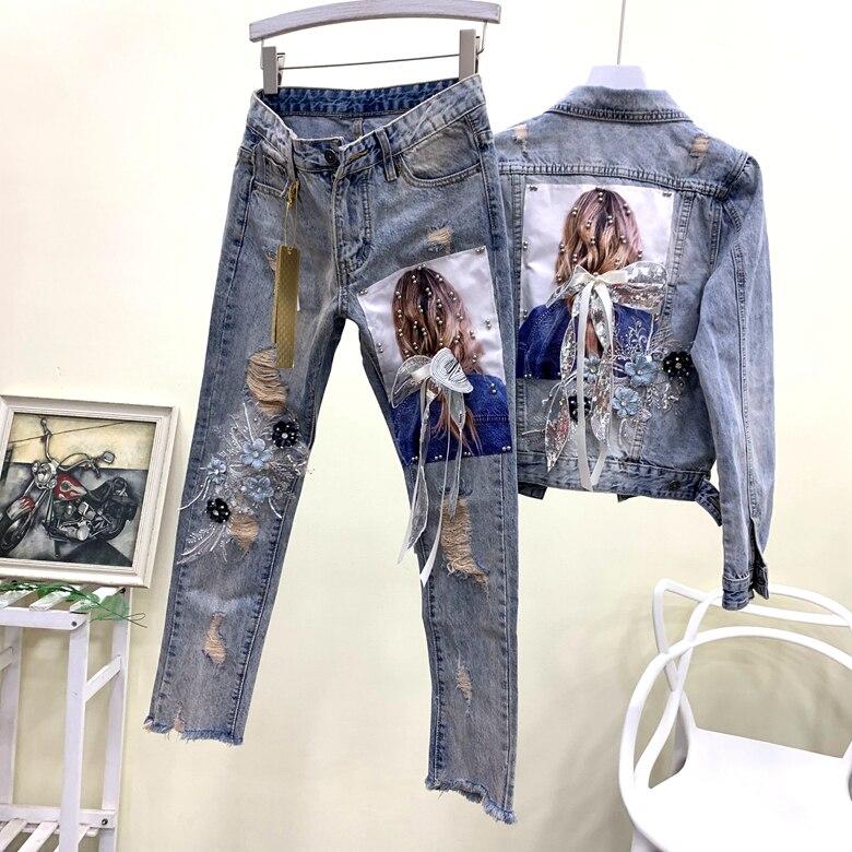 Celebrity Blogger Beautiful Illustrations Applique Sequins Ribbon Flowers Broken Holes Denim Jacket And Jeans Two-piece Suits