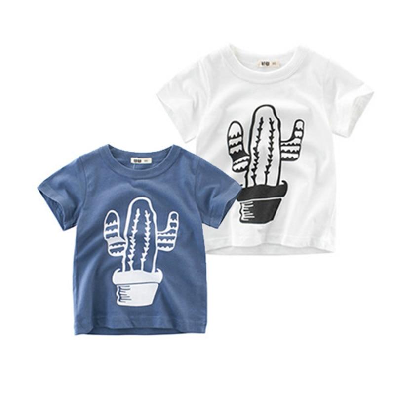 Ropa de verano para niños manga corta Camiseta Cactus de dibujos animados patrón de salvaje camisetas de verano niños camisetas