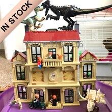 In Voorraad 10928 Rampage Op Lockwood Estate 1019 Pcs Lepinblocks Dinosaur World Park Serie 75930 Bouwstenen Model Speelgoed