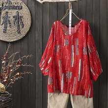 ZANZEA grande taille femmes hauts et chemisiers Vintage chemises imprimées à fleurs décontracté O cou Blusas Femininas dame 3/4 manches travail Blusas