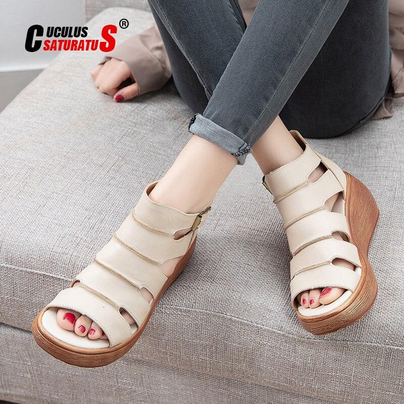 Sandálias de Couro Nova Genuíno Sapatos Femininos Sandálias Plataforma Cunhas Verão Mulher Moda Casuais 2021 Oco