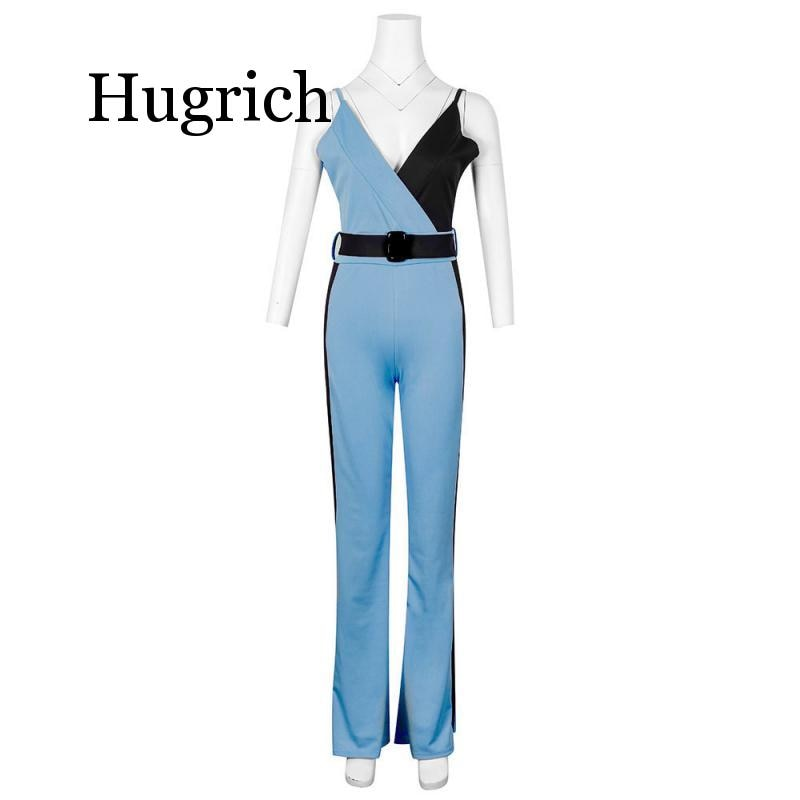 Color Block Spaghetti Strap Jumpsuits Elegant Rompers Women Jumpsuit Striped Pants Office Ladies Bodysuits V Neck Belted Trouser ruffle strap belted pinafore jumpsuit