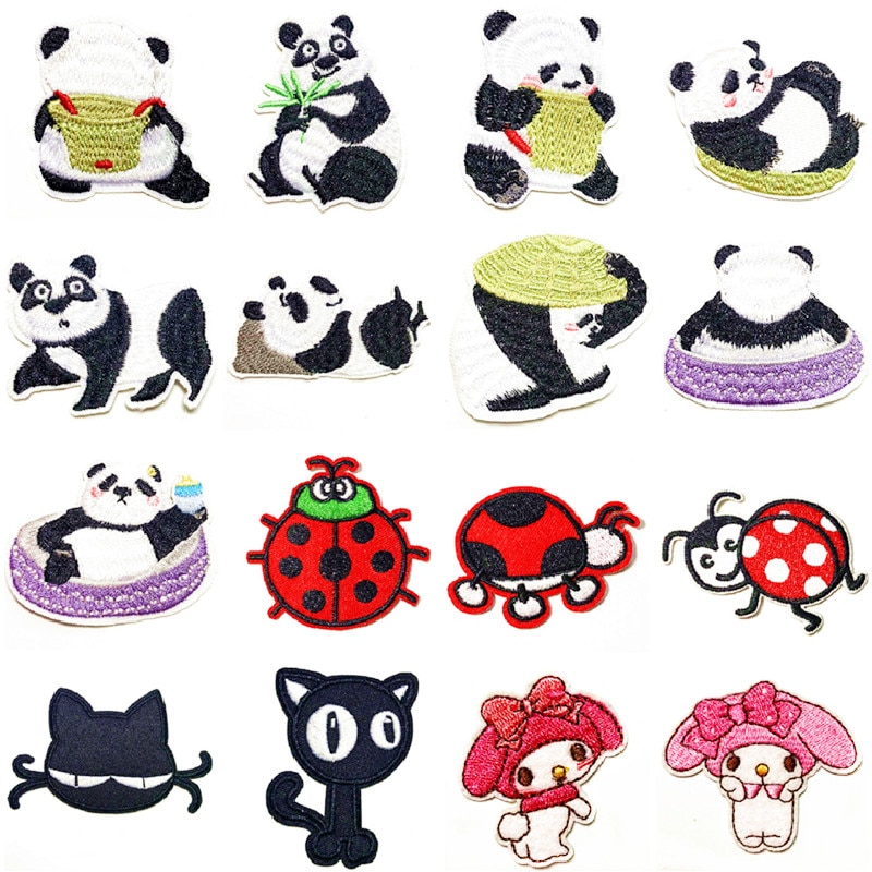 black Cat ladybird panda Animal Embroidered Patches costume patch DIY Clothing Iron on sticker Embroidered Patches For Clothing