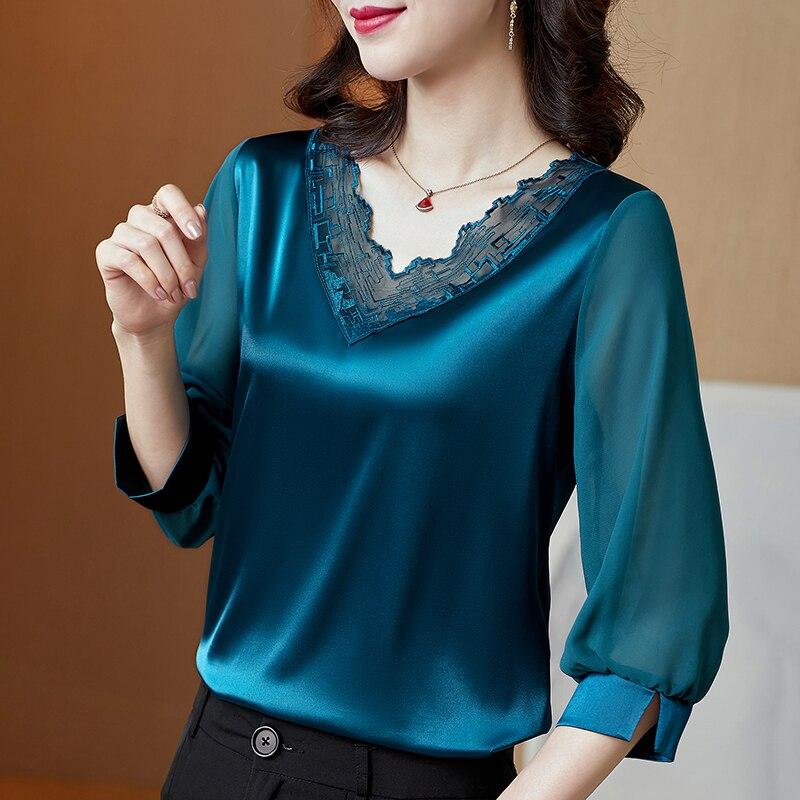 Фото - Spring Korean Fashion Silk Women Blouses Satin Office Lady Mesh Three Quarter Blusas Largas Black Women Shirts three women