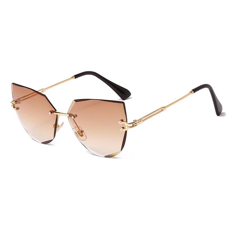 fashion rimless oversize women sunglasses panther sunglasses for women oculos feminino in summer luxury eyewear for fashion lady Rimless Cat Eye Sunglasses Luxury Brand Design Women Metal Sun glasses Fashion Lady Shades UV400 Eyewear