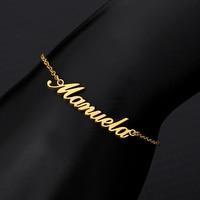 Персонализированные именные браслеты с буквами женские браслеты для щиколотки мужские розовое золото серебро цепочка из нержавеющей стал...