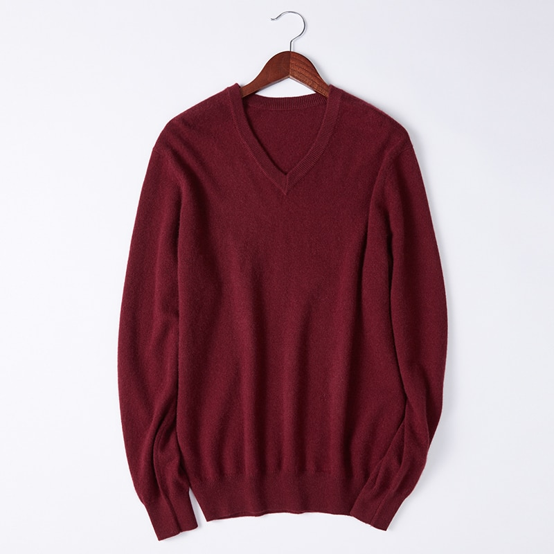 SHUCHAN 100% Cashmere Men Sweater Knit Winter Autumn Warm High Quality Business  England Style  V-Neck  Pullovers Warm