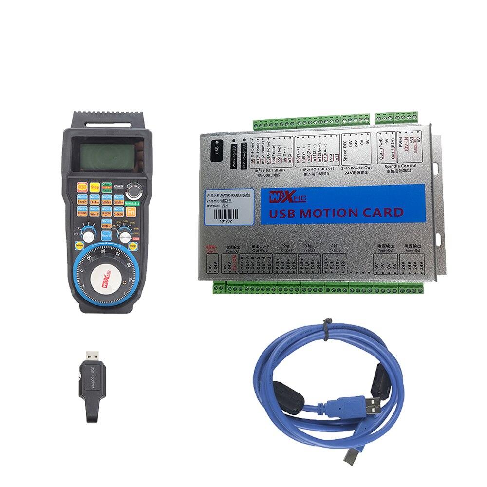 نك عدة Mach3 تحكم XHC MKX-V 3 4 6 محور أوسب بطاقة التحكم في الحركة WHB04B اللاسلكية مبغ قلادة عقارب
