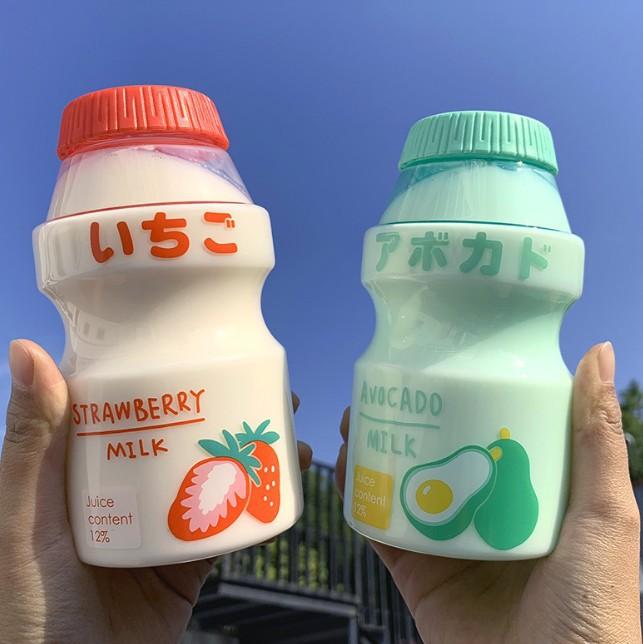 480ml Plastic Cold drink Water Bottle Tour Drinking Bottle Yakult Shape Cute Kawai Milk Carton Shaker Bottle For Kids/Girl/Adult