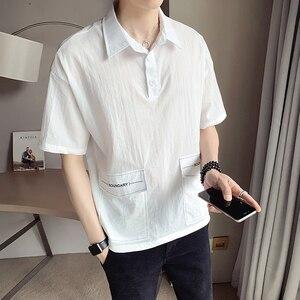 Summer 2021 new men's big pocket embroidered mid-sleeved shirt versatile casual POLO shirt Casual Loose Men Shirt