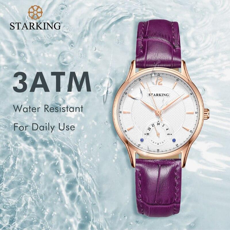 STARKING Fashion Women Watch Japanese Quartz Movement Rose Gold Shell Watches 30M Waterproof Leather Sapphire Relogio Feminino enlarge