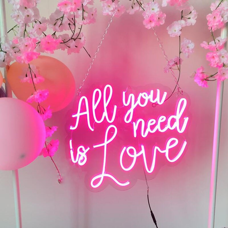 OHANEONK All You Need is Love Custom Neon Sign Light Wedding Bedroom Daughter Girl Room Wall Hanging Personalized Gift Christmas