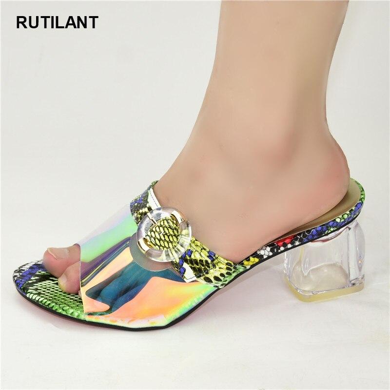 2020 Spring Fashion Women Mid Heels PU Leather Italian High Heels Autumn Slipper for Wedding Nigerian Women Sandals High Quality