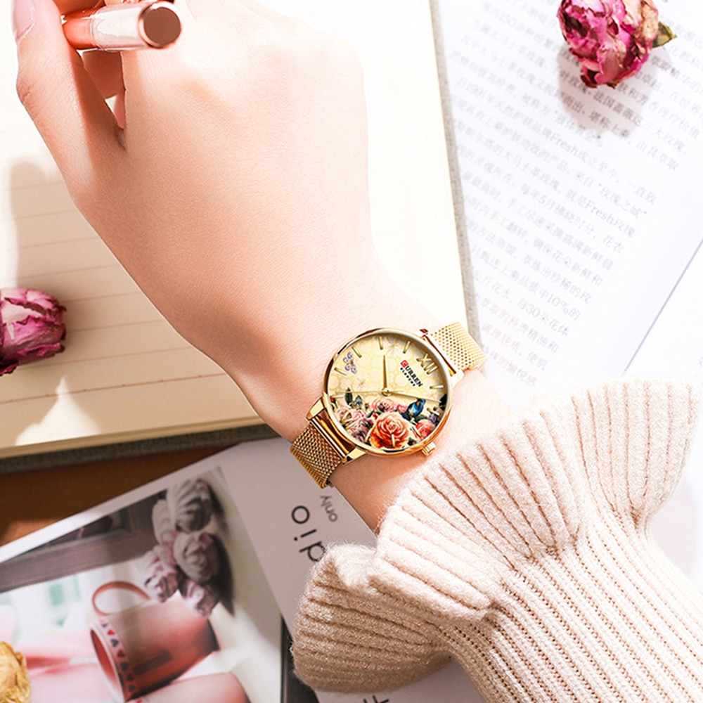 Gold Tone Womens Watches Luxury Brand Curren Quartz watch women Stainless Steel Bracelet 3D Flower Dial Fashion Lady Wristwatch enlarge