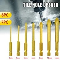 67pcsset quality drill bits carbide alloy titanium plated triangle glass drill tungsten steel tile drill power hand tools set