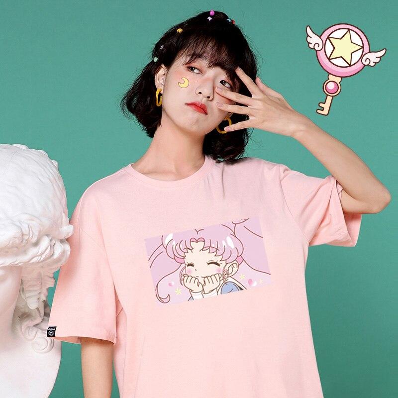 Camisetas de manga corta Harajuku de talla grande de Sailor Moon con cuello redondo para mujer XS-3XL