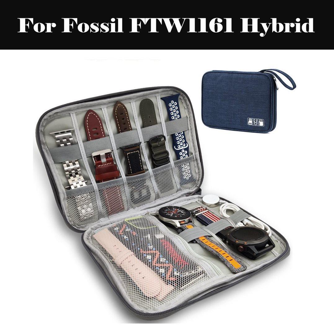 8 Pockets Smart Watch Band Protable Storage Bag Case Pouch Organizer Watch Band Organizer For Fossil FTW1161 Hybrid