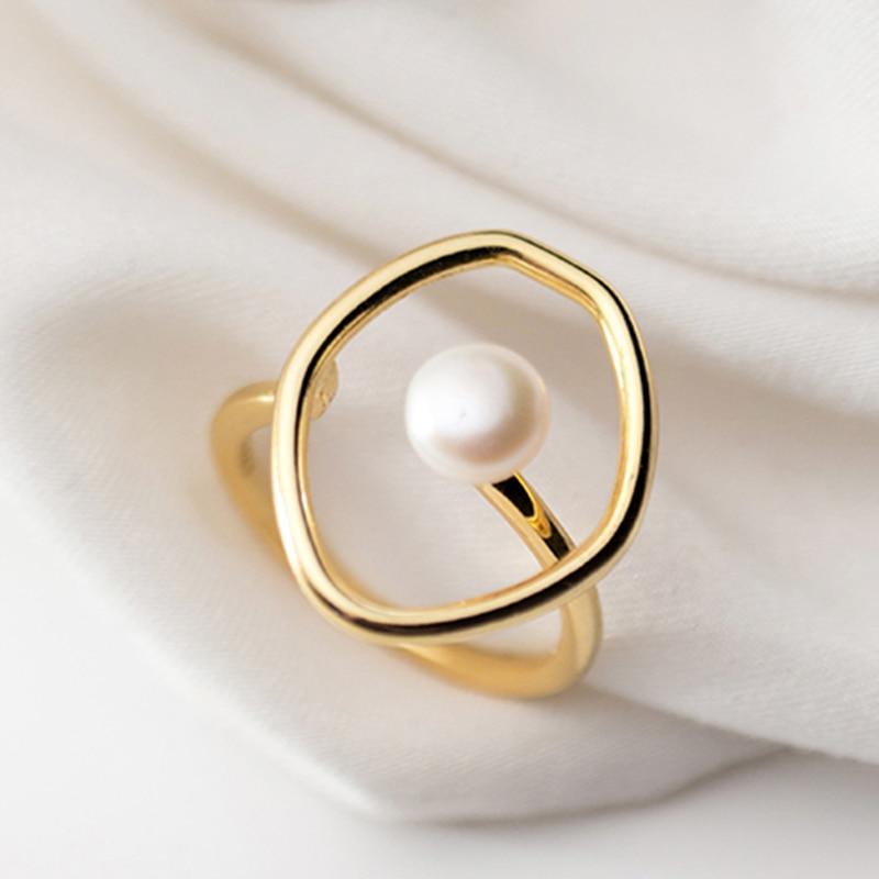 Elegante francés imitación perla anillo abierto Metal oro boda banda anillos mujeres compromiso promesa joyería Dropshipping al por mayor