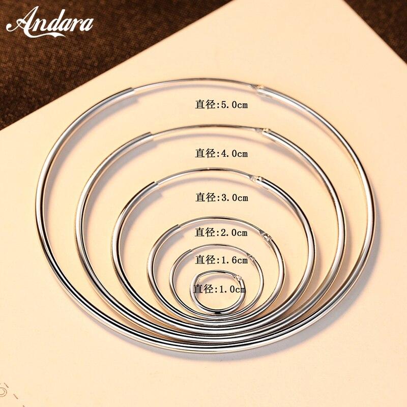 Auténtica Plata de Ley 925, pendiente de aro redondo de 3cm/5cm a la moda para mujer, joyería de moda