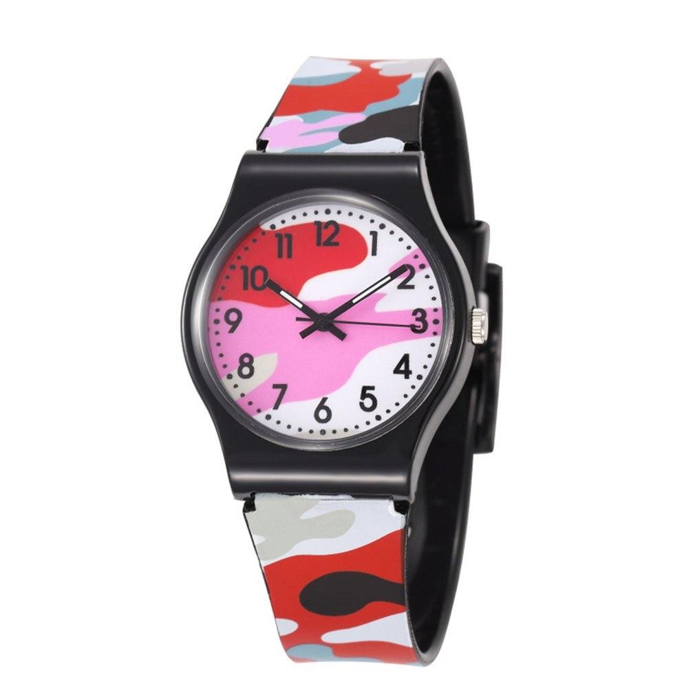 Новинка, детские наручные часы для девочек и мальчиков из пластика, аналоговые кварцевые спортивные часы, камуфляжные часы, Мультяшные часы...