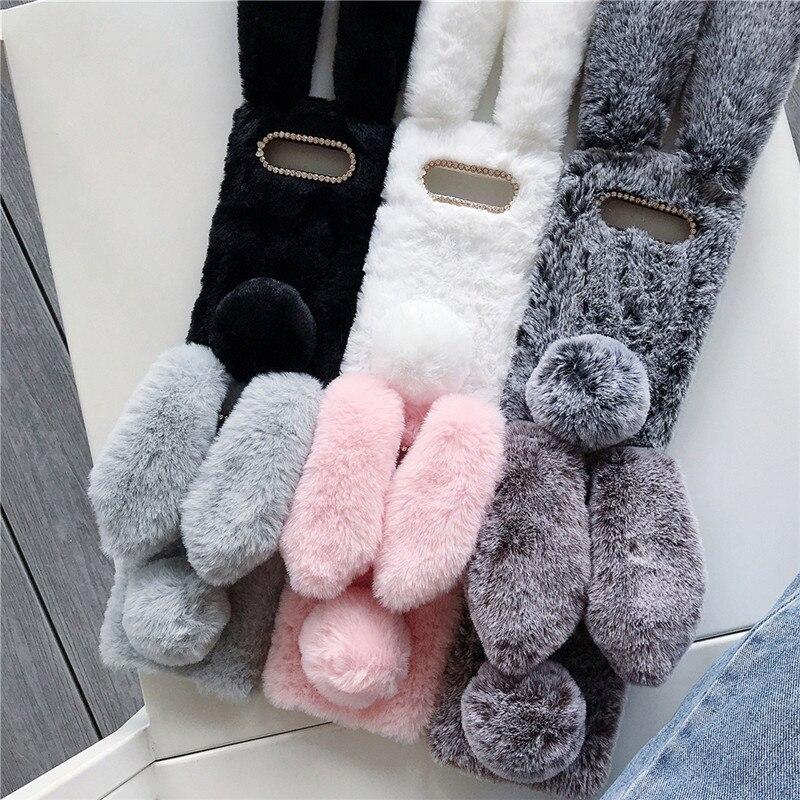 3D Bunny Fluff Hair Phone Case For Samsung S10 S10 Plus S10e Warm Rabbit Ear Plush Furry Back Cover For Samsung A70 A50 A40 Case