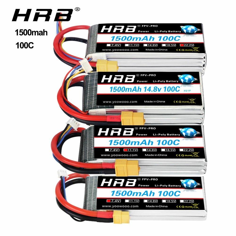 HRB 3s 11,1 v lipo batería 1500mah 100C 4S 6S 14,8 V 22,2 V Lipo con XT60 conector para mini helicóptero fpv drone RC coche camión