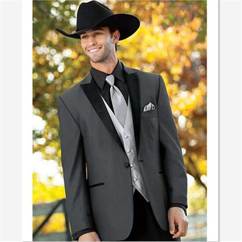 3 قطع سترة فضية مع ربطة عنق للرجال ، بدلة رسمية للرجال ، بنطلون أسود مع طية صدر السترة ، زر واحد ، أحدث معطف