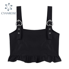 Ruffle Ruched Crop Black Tanks Tops Women's Strap Camisole Party Club Bar Sexy Sleeveless Camis Blac